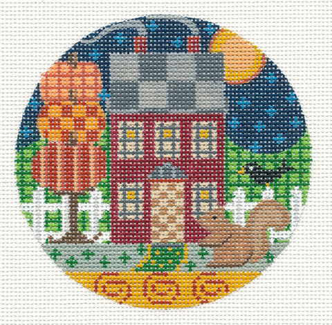 Village Series ~ Country House in Autumn on Handpainted Needlepoint Canvas