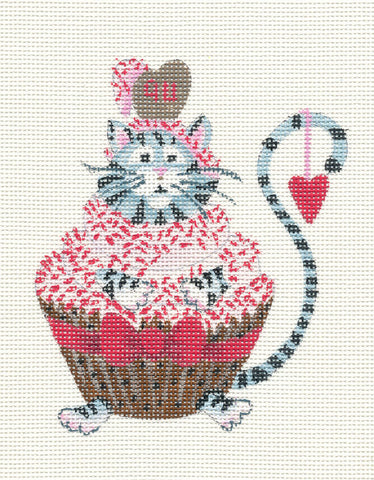 Cat-Cupcake With Sprinkles on Handpainted Needlepoint Canvas~ by Danji Designs
