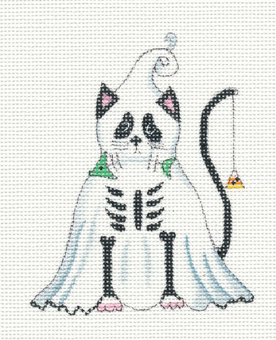 Halloween Ghost Cat on Handpainted Needlepoint Canvas ~ by Danji Designs