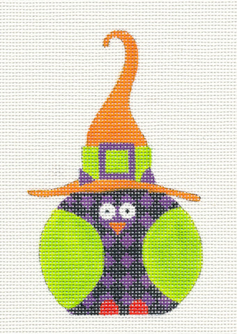 Halloween Purple Checked Witch Owl Ornament on Handpainted Needlepoint Canvas