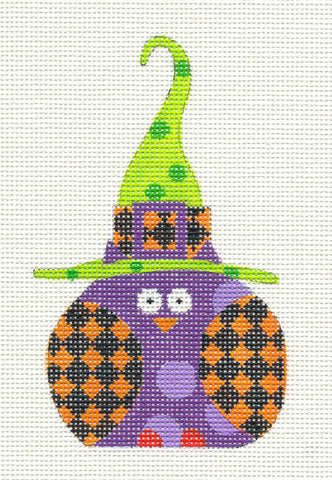 Halloween Orange Checked Witch Owl Ornament on Handpainted Needlepoint Canvas