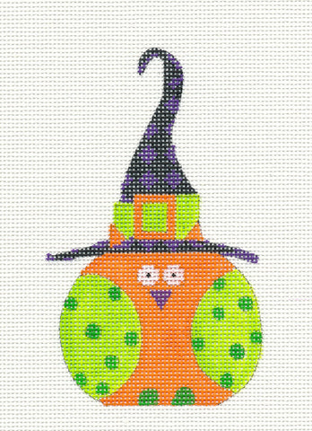 Halloween Orange and Green Witch Owl Ornament on Handpainted Needlepoint Canvas