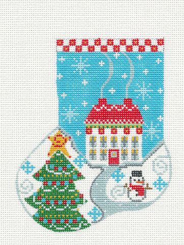 Mini Stocking-Country Home Ornament on Handpainted Needlepoint Canvas