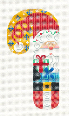 Large Candy Cane Santa and Gift Ornament on hand painted Needlepoint Canvas~ by Danji Designs **SP. ORDER**