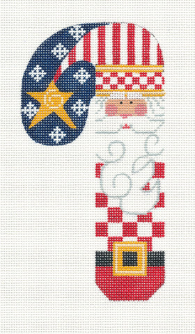 Large Patriotic Santa Red White and Blue Ornament on hand painted Needlepoint Canvas~ by Danji Designs