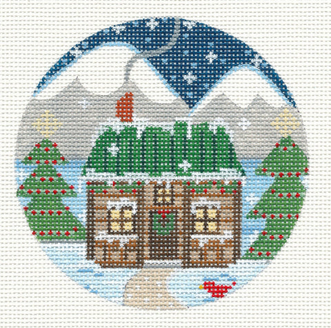 Village Series Christmas Log Cabin House on Handpainted Needlepoint Canvas *** SP. ORDER***