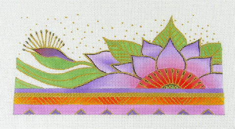 Laurel Burch Celestial Lotus Flower Handpainted Needlepoint Canvas by Danji Designs