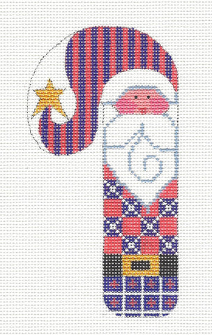 Medium Candy Cane Santa in Purple Check Ornament on hand painted Needlepoint Canvas~ by Danji Designs **SP. ORDER**