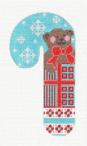 Medium Candy Cane Teddy Bear With Snowflakes Ornament on hand painted Needlepoint Canvas~ by Danji Designs ***SPECIAL ORDER***