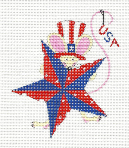 Patriotic 4th of July Mouse on Handpainted Needlepoint Canvas~ by Danji Designs