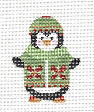 Penguin in Green Jacket Ornament with S/G on hand painted Needlepoint Canvas  **SP. ORDER**