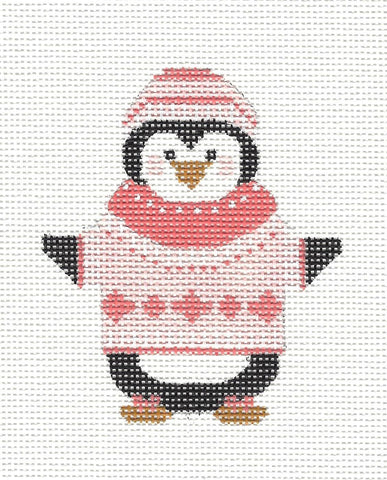 Penguin in Peach Ornament with S/G on hand painted Needlepoint Canvas  **SP. ORDER**