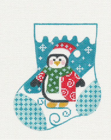 Mini Stocking-Penguin On Teal Ornament on Handpainted Needlepoint Canvas