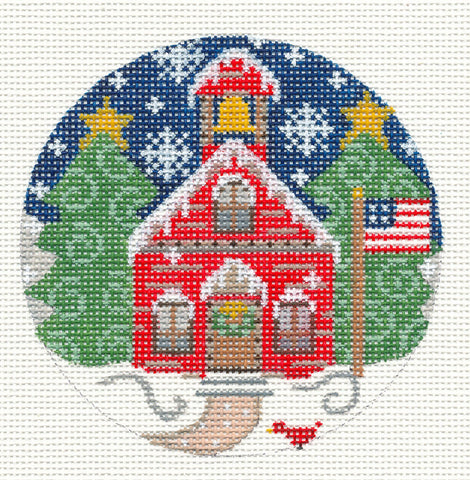 Village Series Red Schoolhouse on Handpainted Needlepoint Canvas *** SP. ORDER***