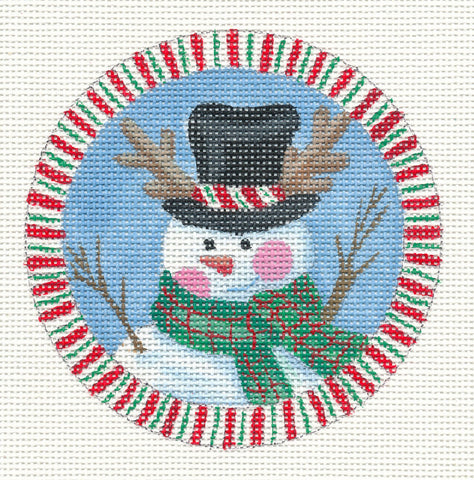 Round-Winter Snowman in Top Hat on Handpainted Needlepoint Canvas