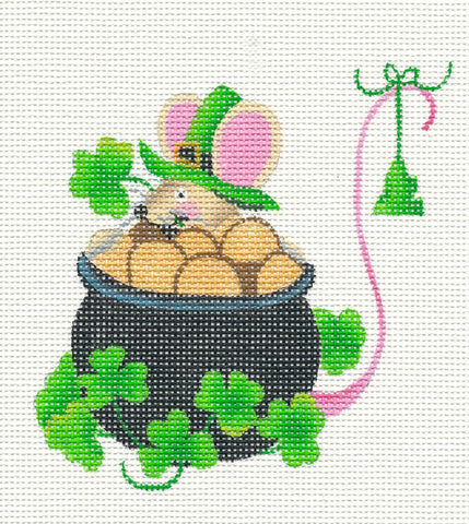 Mouse-St. Patrick's Day on Handpainted Needlepoint Canvas  ~ by Danji Designs