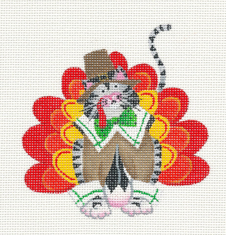 Thanksgiving Turkey Cat on hand painted Needlepoint Canvas ~ by Danji Designs