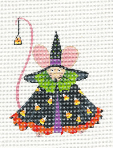 Halloween Witch Mouse with STITCH GUIDE on Handpainted Needlepoint Canvas ~ by Danji Designs