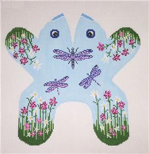 Door Stop~ Dragonfly Frog 3-D Beanbag  handpainted Needlepoint Canvas~by Needle Crossings