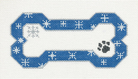 Dog Bone-Blue Snowflake Handpainted Needlepoint Canvas Ornament by Danji