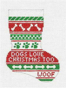 Stocking~Dogs Love Christmas 13 MESH Mini handpainted Needlepoint Canvas~by Needle Crossings