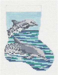 Stocking~Dolphins Mini handpainted Needlepoint Canvas~by Needle Crossings