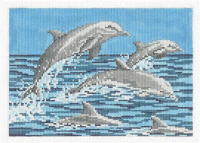 Canvas~ 5 Dolphins handpainted Needlepoint Canvas~by Needle Crossings