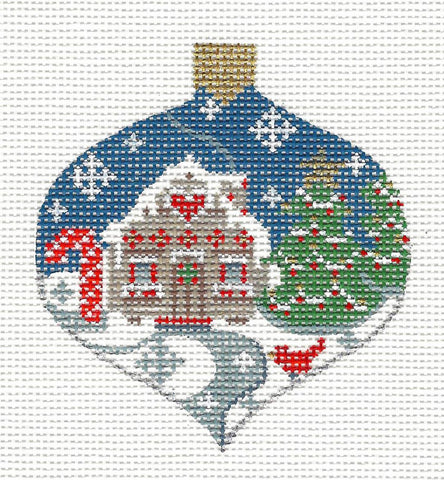Bauble Cottage and Cardinal Ornament on Handpainted Needlepoint Canvas