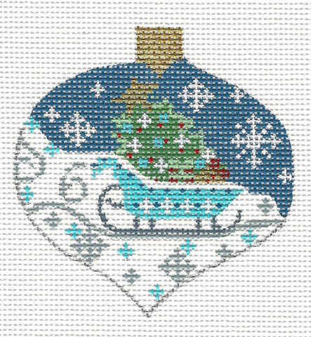 Bauble Blue Sleigh and Tree Ornament on Handpainted Needlepoint Canvas