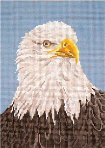 Canvas~Elegant American Bald Eagle Bird handpainted Needlepoint Canvas~by Needle Crossings