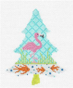 Kelly Clark Tree – Pink Flamingo Coastal Tree & Stitch Guide HP Needlepoint Canvas