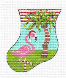 Stocking~Tropical Flamingo Sock handpainted Needlepoint Ornament by JulieMar