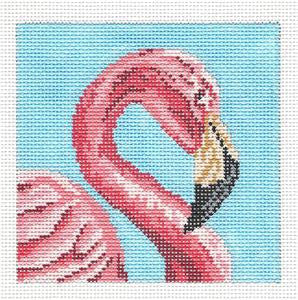 Canvas~ Elegant Pink Flamingo Coaster handpainted Needlepoint Canvas~by Needle Crossings