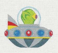 Canvas~Flying Saucer & Alien handpainted Needlepoint Canvas by Raymond Crawford
