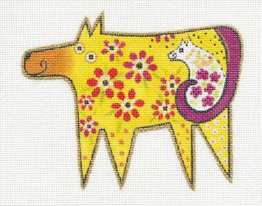 Laurel Burch Floral Golden Dog and Friend Handpainted Needlepoint Canvas by Danji Designs