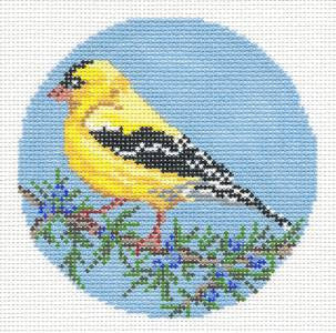 "Round~4""  Goldfinch Bird Ornament handpainted Needlepoint Canvas~by Needle Crossings"