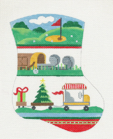 Mini Stocking-Golf Ornament on Handpainted Needlepoint Canvas by Danji