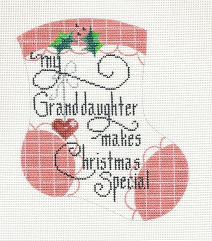 Mini Stocking-Granddaughter handpainted HP Needlepoint Canvas by Danji