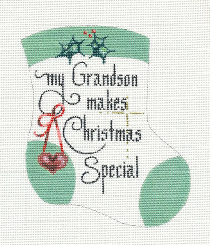 Mini Stocking-Grandson handpainted HP Needlepoint Canvas Ornament by Danji