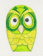 Owl~Shades of Green Ornament handpainted Needlepoint Canvas by Raymond Crawford
