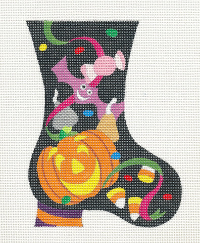 Halloween~Pumpkin Mini Boot handpainted Needlepoint Canvas by Raymond Crawford