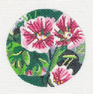 "Round~Hollyhock Flower handpainted Needlepoint Canvas 3""Round by JulieMar***SPECIAL ORDER***"