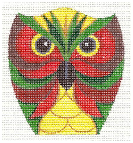 Owl~Red & Green handpainted Needlepoint Canvas by Raymond Crawford