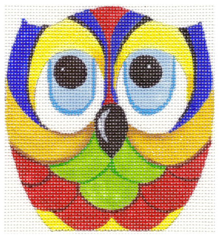 Owl~Primary Colors handpainted Needlepoint Canvas by Raymond Crawford