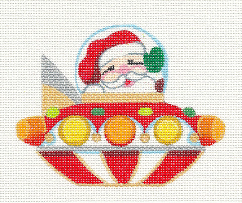 Christmas~ Santa's Flying Saucer handpainted Needlepoint Canvas by Raymond Crawford ***SPECIAL ORDER***