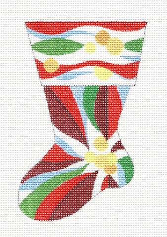 Stocking~Red Poinsettia Sock Ornament handpainted Needlepoint Canvas by Raymond Crawford