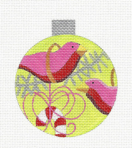 Round~Pink Birds on Green Ornament handpainted Needlepoint Canvas by Raymond Crawford