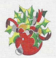 Round~Holly & Ribbon Red Ornament handpainted Needlepoint Canvas by Raymond Crawford