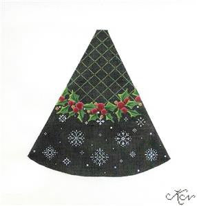 Kelly Clark - Holly & Snowflakes Pillar Tree handpainted Needlepoint Canvas
