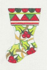 Stocking~Holly Mini Stocking Ornament handpainted Needlepoint Canvas by Raymond Crawford **SPECIAL ORDER**